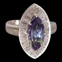 Marquise Tanzanite Diamond Ring Platinum GIA
