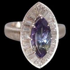 Marquise Tanzanite Diamond Ring Platinum GIA