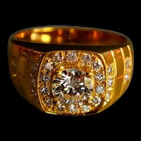 Vintage Men's Signet Pinky Diamond Ring 20k
