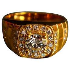 Vintage Men's Signet Pinky Diamond Ring 20k