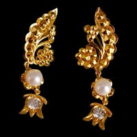 22k Antique Chinese Dangle Earrings Diamond Pearl