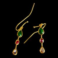 24k Gold Roman Style Ruby Sapphire Jade Earrings
