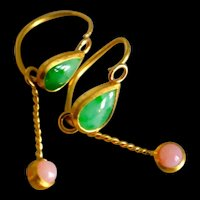 24k Gold Byzantine Style Drop Earrings Jade Opal