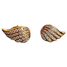 20k Wing Diamond Earrings Chinese Mid-century