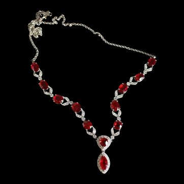 Pigeon Blood Unheated Ruby Necklace 18k