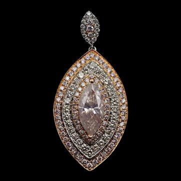 Marquise Light Pink Diamond Pendant 18k