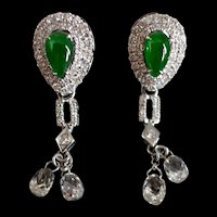 GIA Teardrop Jade Diamond Drop Earrings 18k