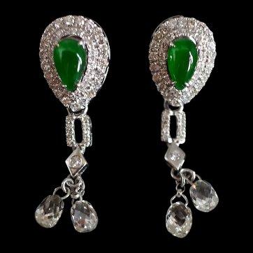 GIA Teardrop Jade Diamond Drop Earrings 18k