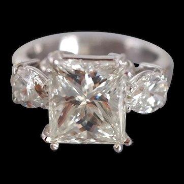 3ct Princess Cut Diamond Ring Three Stone 18k