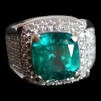 5ct Colombian Emerald Ring Men 18k