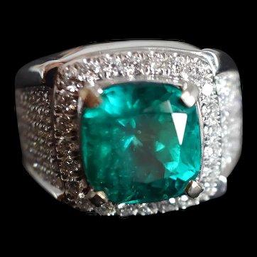 5ct Colombian Emerald Ring Men 18k