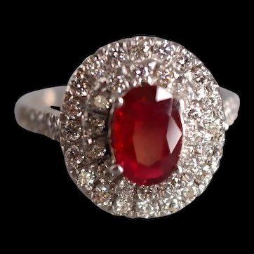 Unheated Red Ruby Cluster Ring 18k