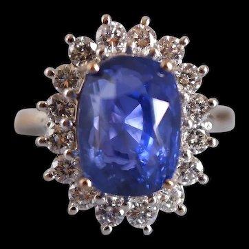 7ct Unheated Cornflower Blue Sapphire Ring 18k