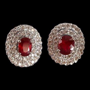 Pigeon Blood Unheated Ruby Diamond Earrings 18k