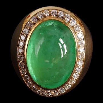 20ct Russian Emerald Cabochon Ring Men