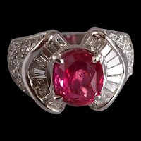3ct Unheated Ruby Diamond Bow Ring 18k