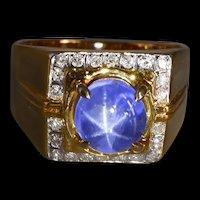 Blue Star Sapphire Pinky Signet Ring Men Vintage