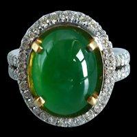 Jadeite Jade Cabochon Halo Ring 18k
