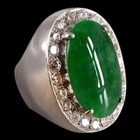 Tall Jade Cabochon Ring 18k Art Deco Style Men