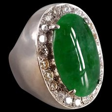 Tall Jade Cabochon Ring 18k Art Deco Style Men