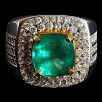 3.34ct Colombian Emerald Men's Ring 18k