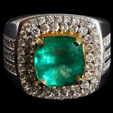3.34ct Colombian Emerald Men's Ring 18k