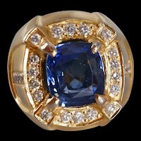 6ct Dark Blue Sapphire Men's Ring 18k