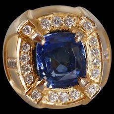 6ct Dark Blue Sapphire Men's Ring 18k