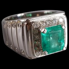 3ct Colombian Emerald Pinky Ring Mens 18k
