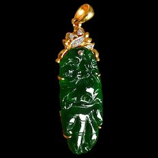 Art Nouveau Carved Dark Jade Pendant Chinese 20k