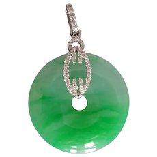 Apple Green Jade Donut Pendant 18k