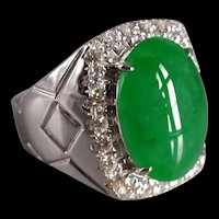 Bright Apple Green Jade Men's Ring 18k