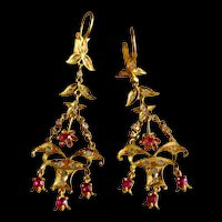 20k Antique Chandelier Earrings Ruby Diamond Chinese