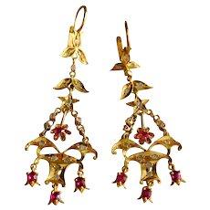 20k Antique Chandelier Earrings Ruby Diamond Chinese