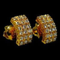 Antique Art Deco Curve Diamond Earrings 20k
