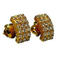 Antique Art Deco Curve Diamond Earrings 20k