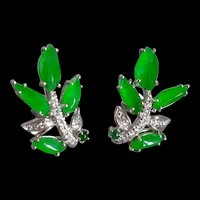 Natural Jade Leaf Earrings 18k Art Nouveau Style
