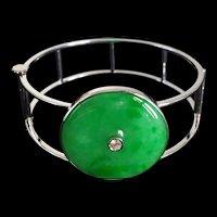 Modernist Natural Apple Green Jade Cuff Bangle 18k