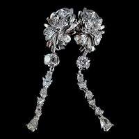 Dainty Diamond Drop Earrings Vintage Chinese 18k