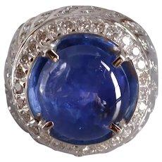 15ct Cobalt Blue Star Sapphire Ring Men