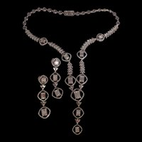 18ctw Art Deco Style Diamond Cocktail Set Necklace Earrings 18k