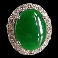 Big Green Jadeite Jade Halo Ring 18k