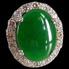 Big Green Jadeite Jade Halo Ring 18k