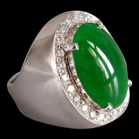 Jadeite Jade Diamond Cigar Ring Men 18k
