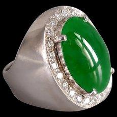 Jadeite Jade Diamond Cigar Ring Men 18k