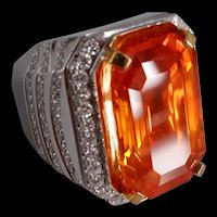 27ct Orange Sapphire Ring Men Emerald Cut