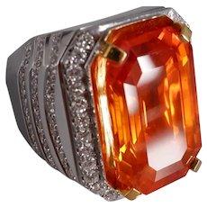 27ct Orange Sapphire Ring Men Emerald Cut