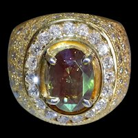 3ct Alexandrite Diamond Cigar Ring Men 18k