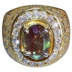 3ct Alexandrite Diamond Cigar Ring Men 18k