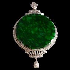 Mottled Jadeite Jade Globe Medallion Pendant 18k